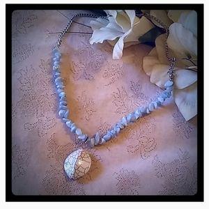 Vintage Pale Blue Nuggets Choker Necklace